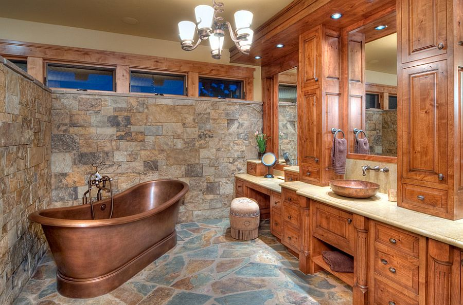 Awesome rustic bathroom with copper bathtub [Design: Sun Forest]