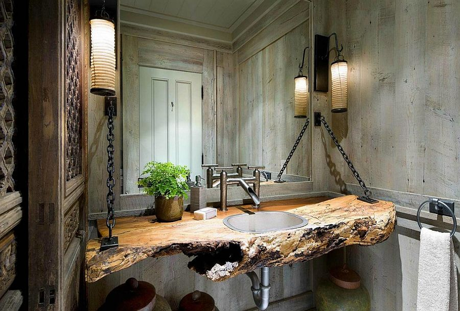Awesome vanity steals the show in this bathroom