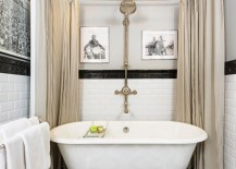 Bathroom with black trim and a tile floor
