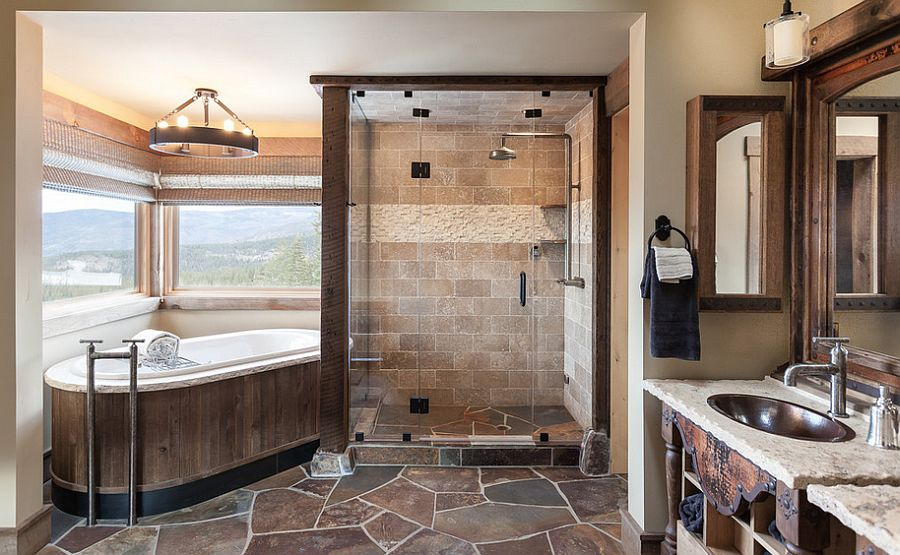 Bathtub and glass shower area make use of the corner space [Design: High Camp Home]