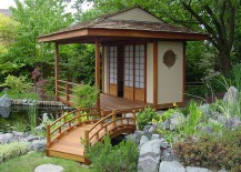 Beautiful backyard with Japanese Teahouse and a koi pond [Design: Rhino Rock llp]