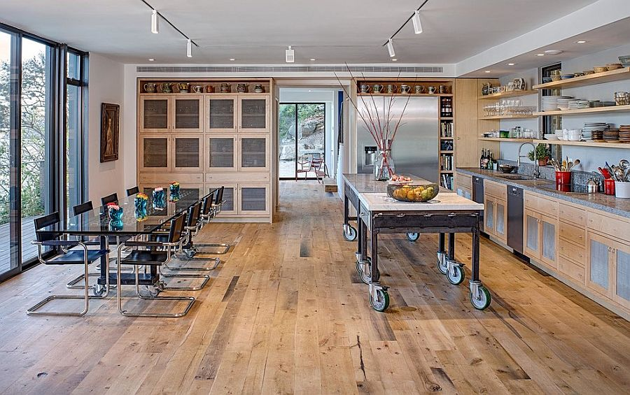 Beautiful kitchen island on wheels brings industrial style to the lakeside house