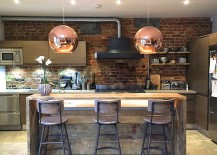 Beautiful pendants from Tom Dixon steal the show here 217x155 100 Awesome Industrial Kitchen Ideas