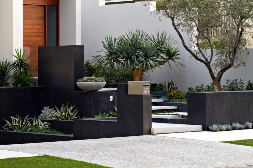 Beautifully designed entry filled with interesting plants