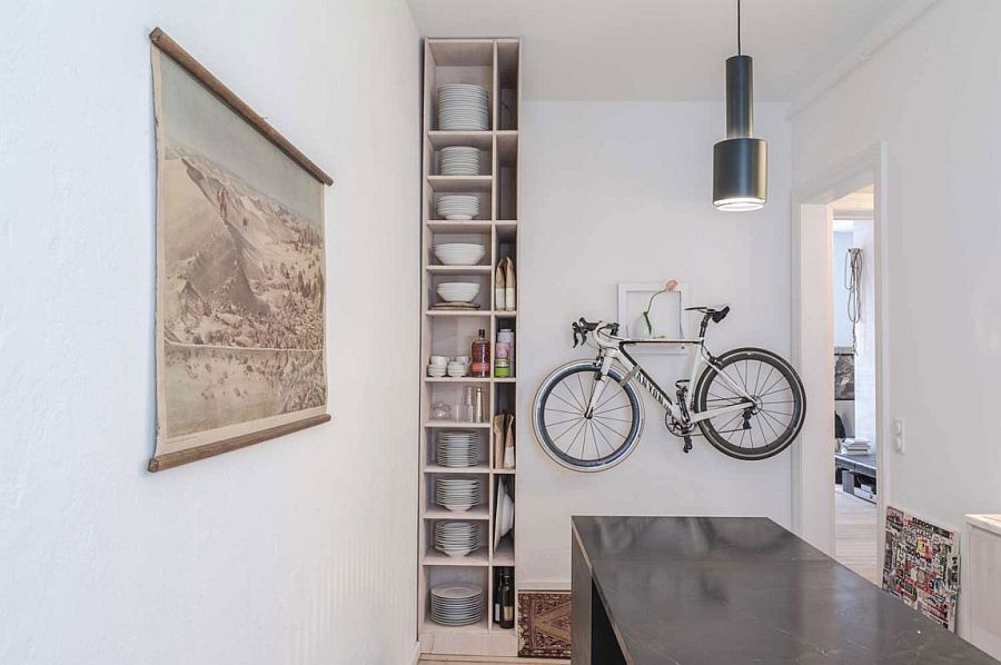 Bicycle mounted on the wall immediately draws your attention