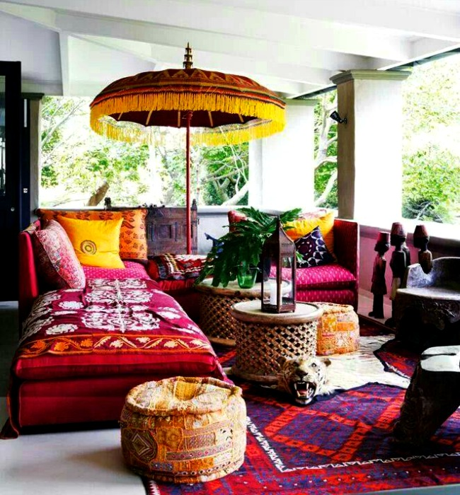 Indoor umbrella for the Boho chic setting