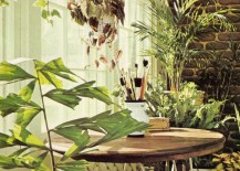 Brick, lattice and houseplants in a bright indoor space
