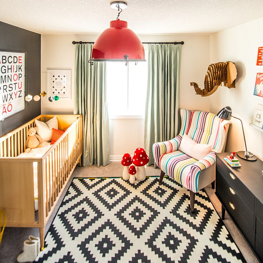 Brilliant pendant adds a splash of red to the nursery [Design: elena del bucchia DESIGN]