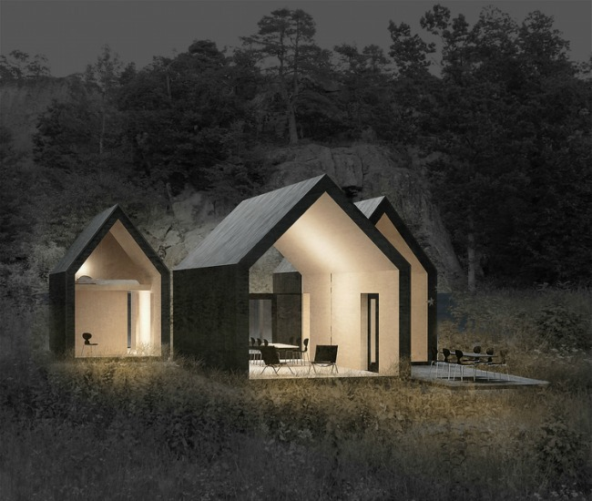 Three cabins can serve up a group of people but still provide individual space