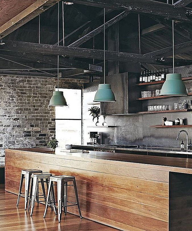 Ceiling adds to the industrial style of the kitchen [From: Forbes]