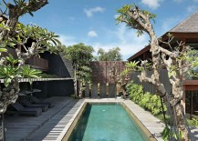 Central courtyard of Villa Pecatu filled with greenery and indoor pool 217x155 Villa Pecatu Bali: Exotic Blend of Natural Beauty and Modern Comfort