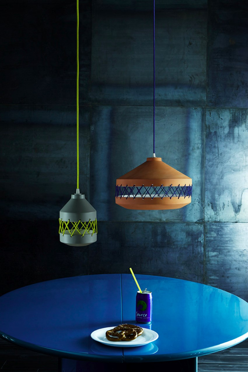 Ceramic and cotton pendant lamp by Incipit Lab