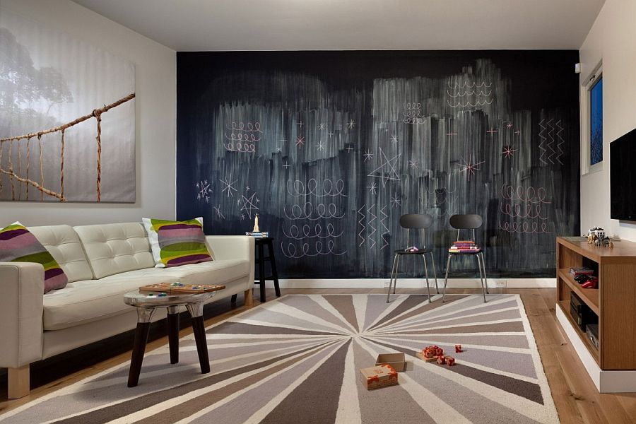 Chalkboard wall becomes the focal point in this lovely family space