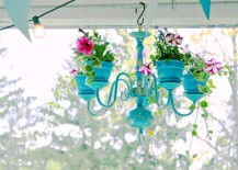 Elegant Chandelier Planter in cool blue