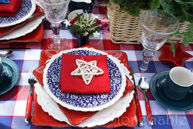 Charming Red White and Blue Tablescape  with twiggy star