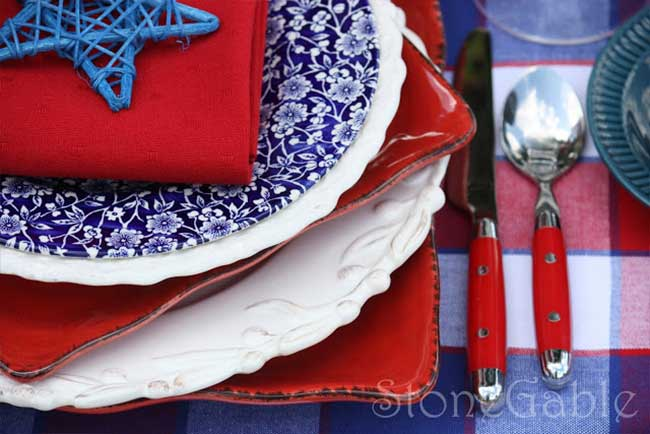 Charming Red White and Blue Tablescape