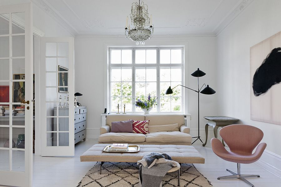Chic Scandinavian living room with a splash of Parisian charm