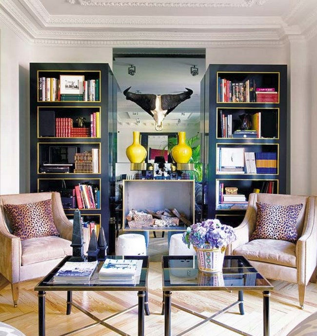 Chic living room with black detailing
