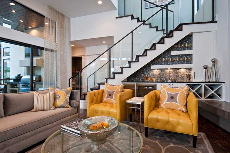 View In Gallery Classy And Glam Under Stair Bar