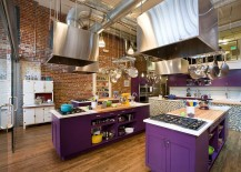 Classy use of purple in the industrial kitchen