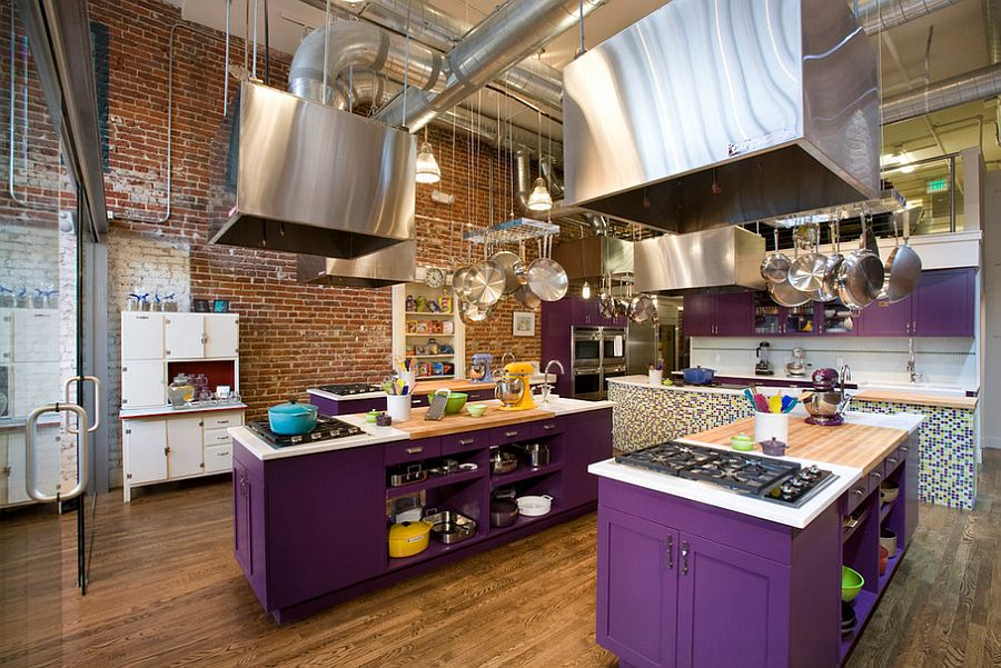 Classy use of purple in the industrial kitchen [Design: Momoko Morton]