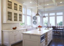 Coffered ceiling in a light and airy kitchen