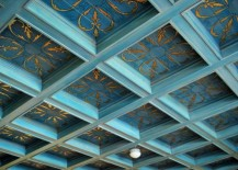 Coffered ceiling with a hand-painted finish