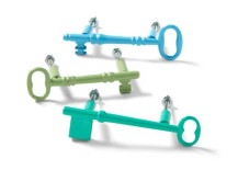 Colorful Key Drawer Pulls in Blues and Greens