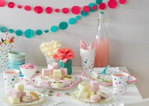 Colorful party supplies from The Land of Nod