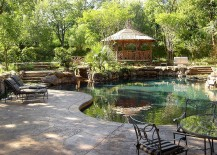 Combine the garden bridge with the pool landscape [Design: Harold Leidner Landscape Architects]