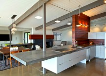 Modern kitchen island with a concrete countertop
