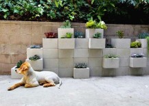 Patio concrete planter idea