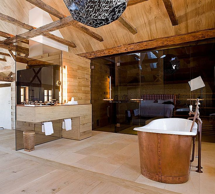 Contemporary and rustic styles meet inside this Austrian bathroom