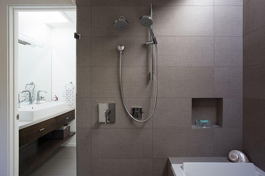 Contemporary bathroom design in cool gray