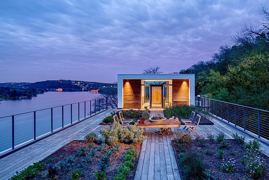 Contemporary rooftop deck overlooking Lake Austin