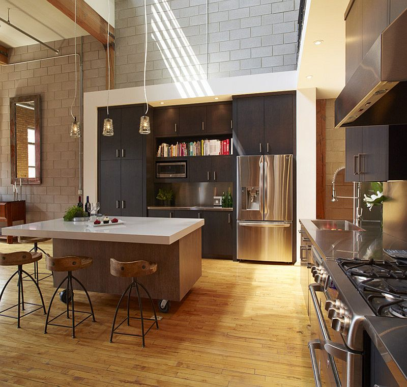 Cool kitchen island on casters ushers in the industrial style [Design: White Crane Construction]