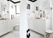 Crisp bathroom makeover with black trim 217x155 10 Unique Painting Ideas Featuring Black Trim