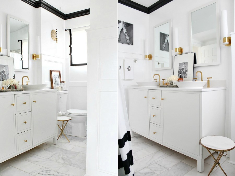 Crisp bathroom makeover with black trim