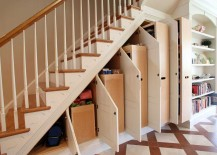 Custom Under Stair Storage Cabinets Open 217x155 8 Clever Ways to Utilize That Awkward Space Under Your Stairs