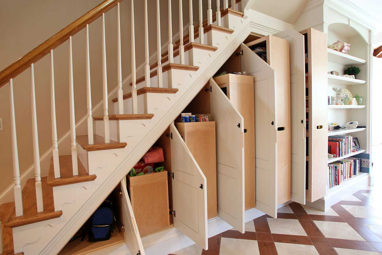 View in gallery custom under stair storage cabinets open