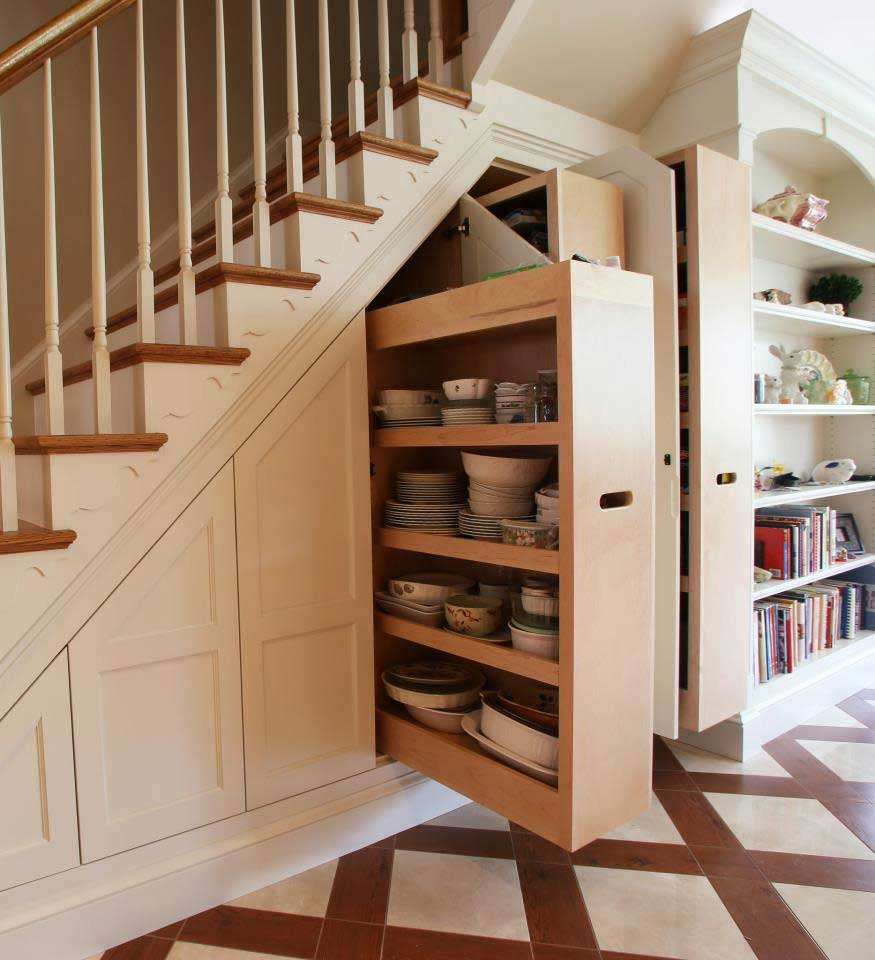 Custom Under Stair Storage Cabinets by Miles Enterprises