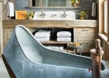 Custom vanity and bathtub shape the ingenious rustic bathroom [Design: Beck Building Company]