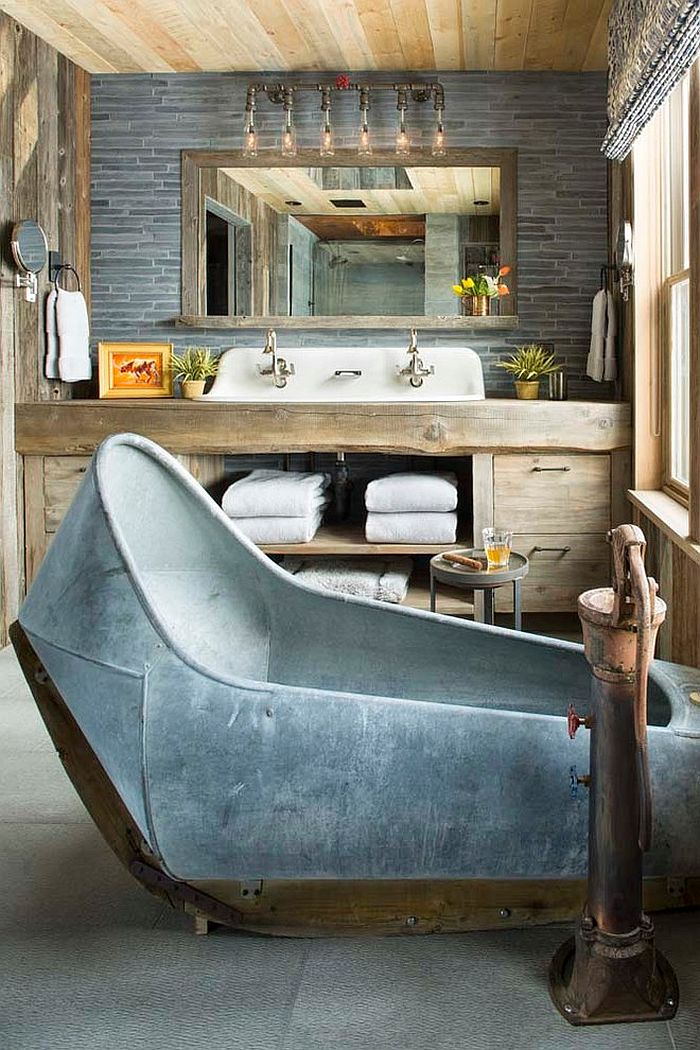 Custom vanity and bathtub shape the ingenious rustic bathroom [Design: Beck Building Company]