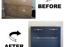 DIY Copper Pipe Drawer Pull on Navy Dresser