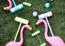 DIY flamingo croquet set