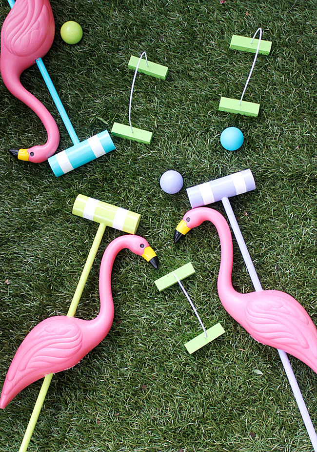 DIY flamingo croquet set