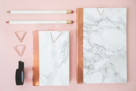 DIY marble notebooks from The Lovely Drawer  10 DIY Projects with Marble Style DIY marble notebooks from The Lovely Drawer 270x180