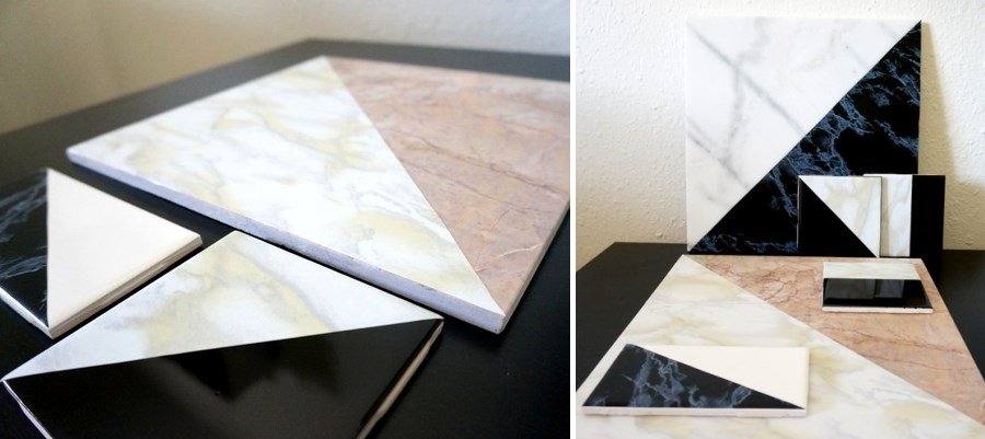 DIY marble tile art from Mirror80  10 DIY Projects with Marble Style DIY marble tile art from Mirror80