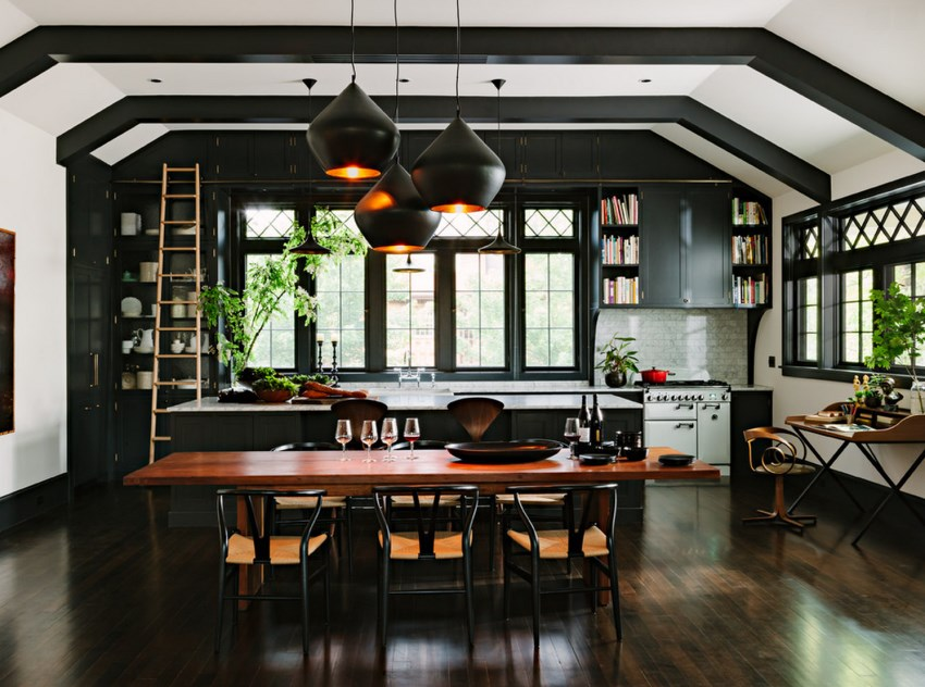 Dark tones add drama to this kitchen