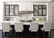 Dark trim on kitchen cabinetry
